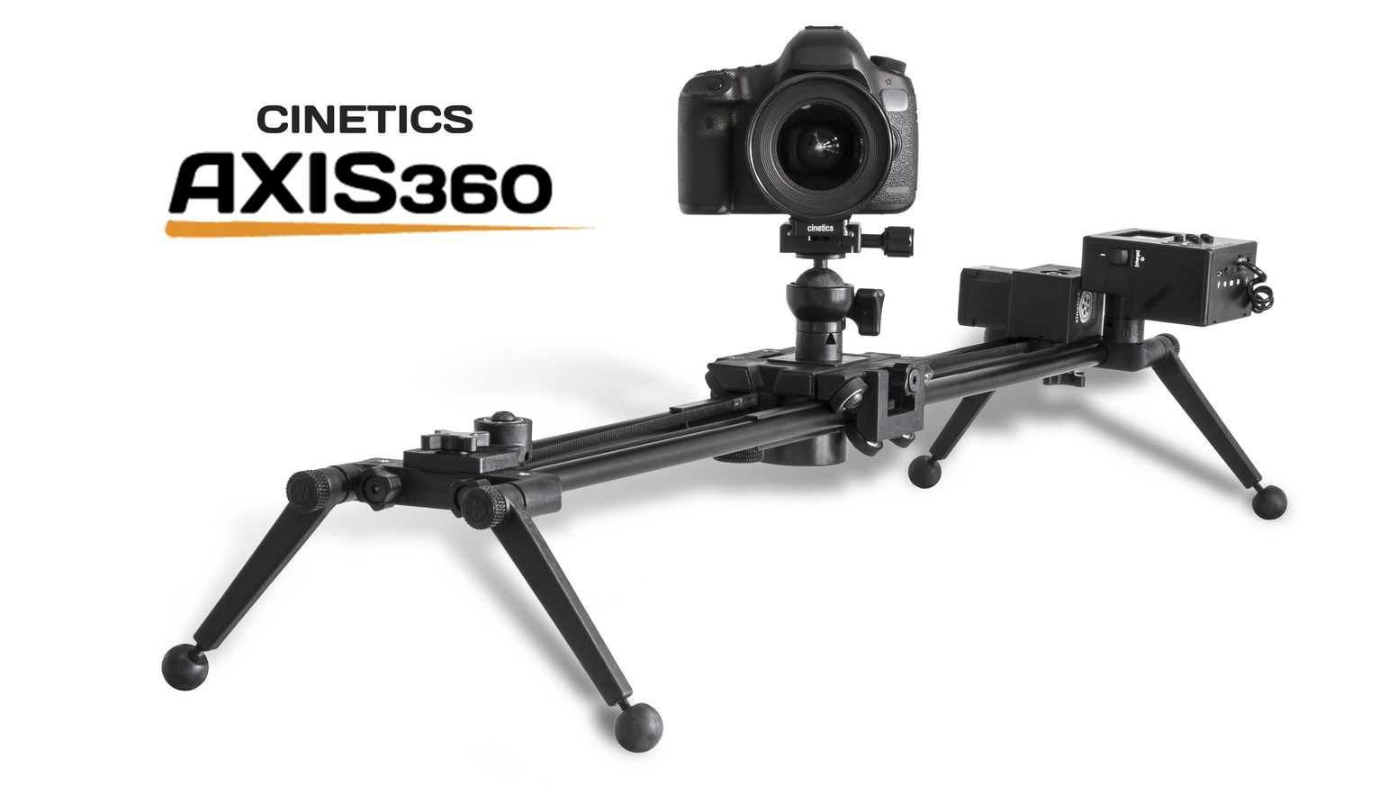 A compact, motorized tripod head and slider for dynamic video and timelapse photography.