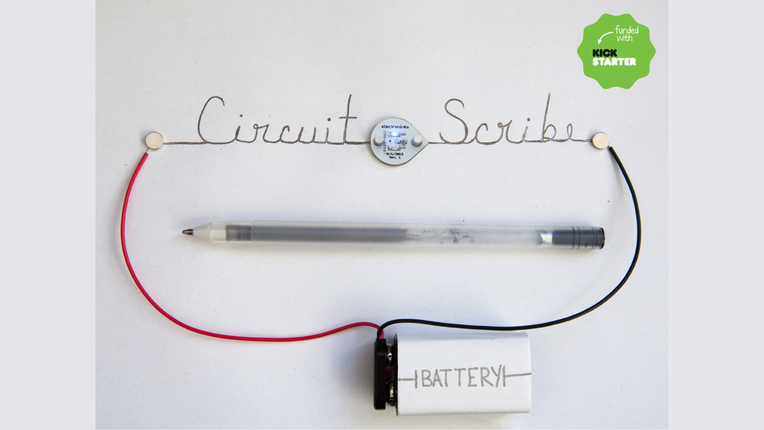 Circuit Scribe is a rollerball pen that writes with conductive silver ink. It makes creating circuits as easy as doodling.
