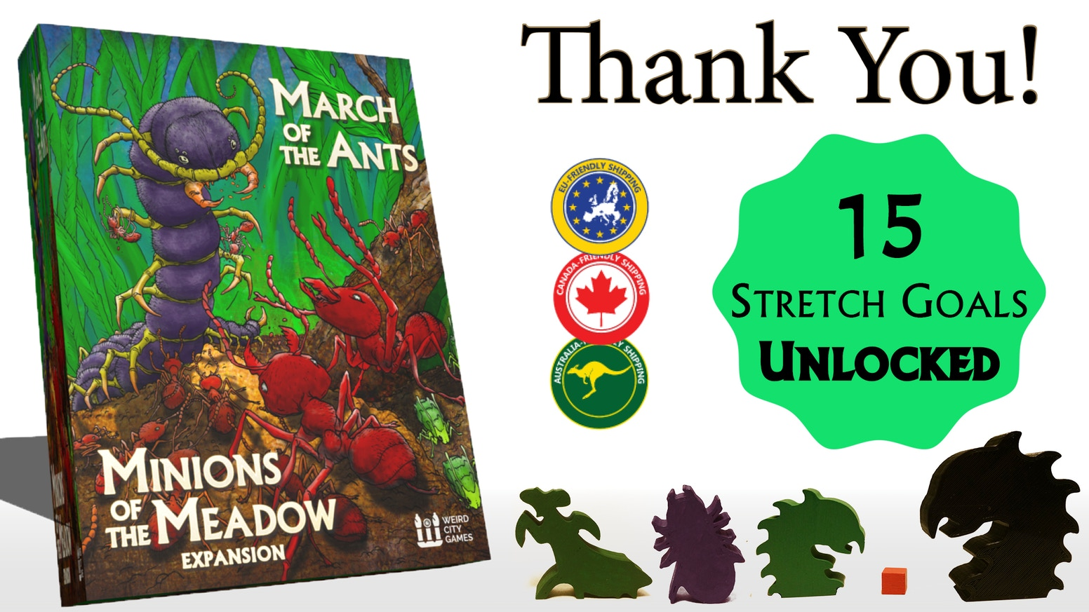 Expand the world of March of the Ants!  Evolve Major Workers, farm Aphids, and hunt Predators in this open ended strategy game for 1-5!