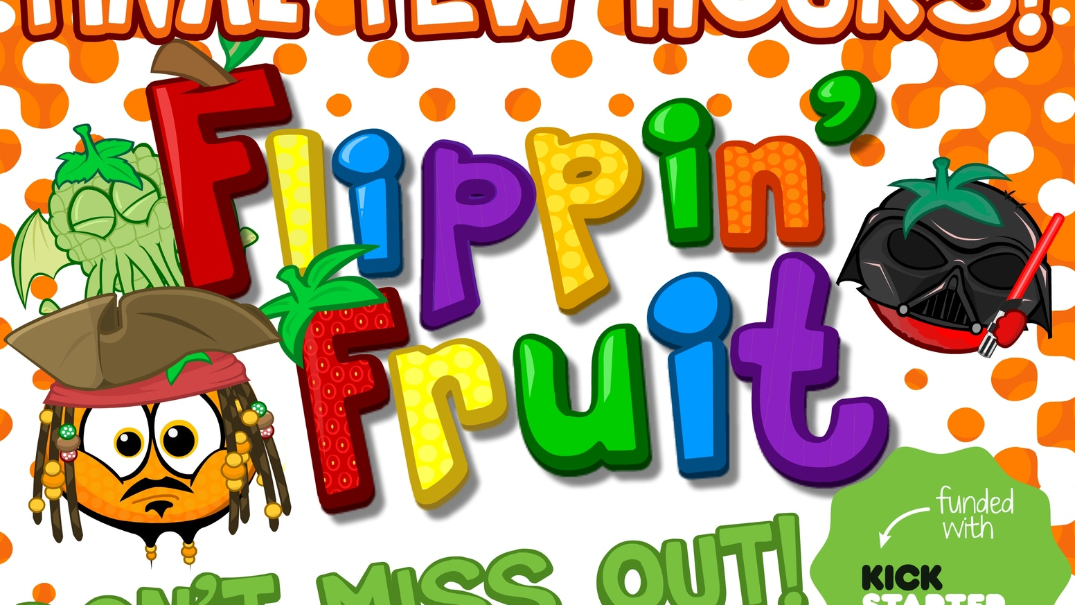 Flippin' Fruit is a crazy competitive tabletop game of 12 sided dice, cards, fruit and fun that will test your grapes! For 2-4 Players.