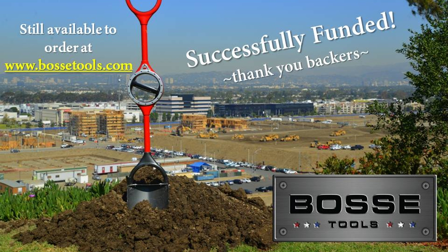 Industrial, age-old design meets ergonomic innovation.  Groundbreaking technology from Bosse Tools has reinvented the shovel.