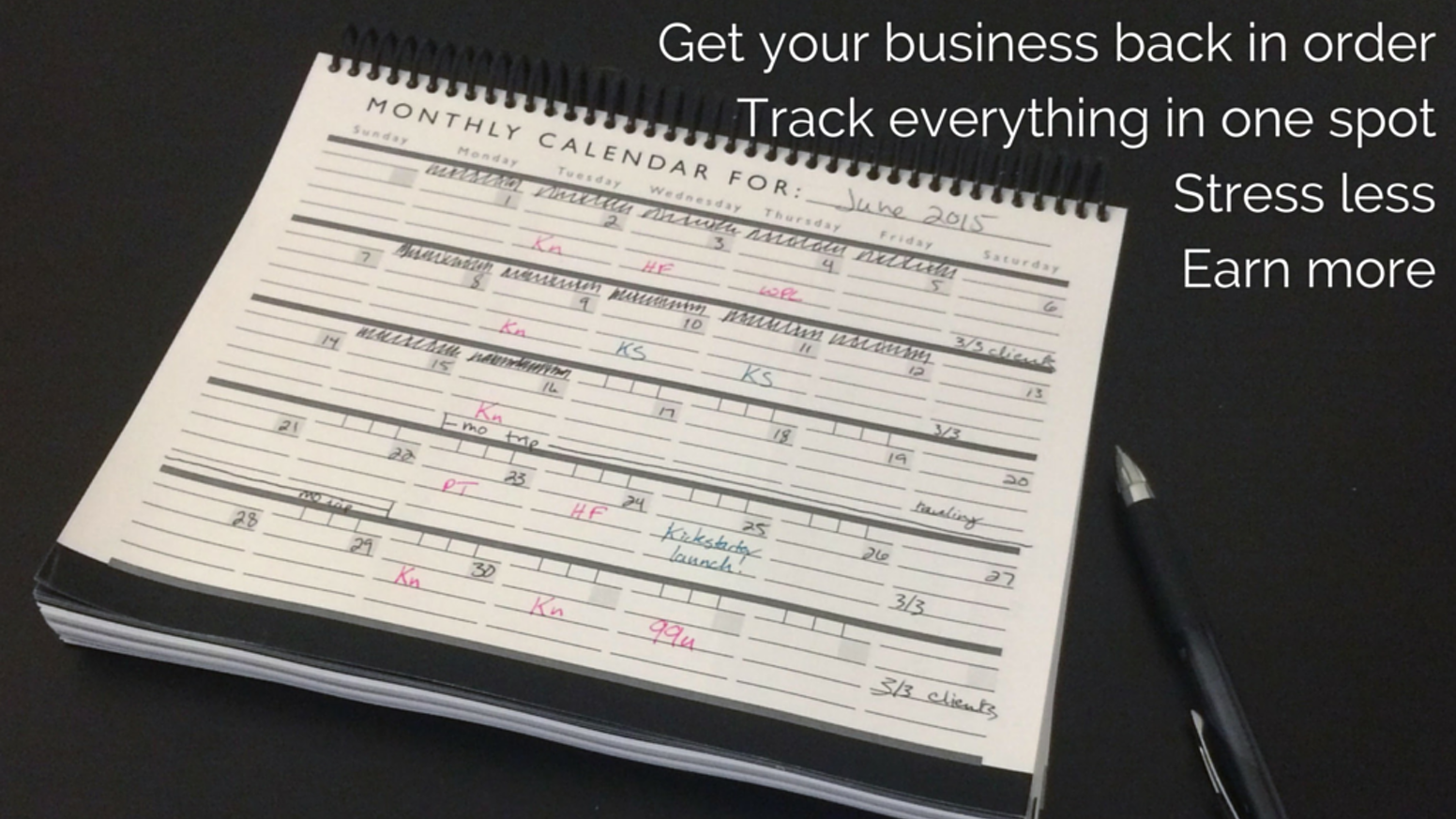 Track your income, client projects, tasks, & everything else in one planner, while learning better business habits.