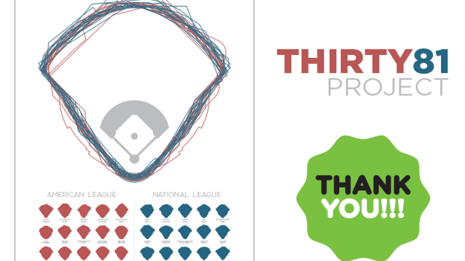 """A Limited Edition, 18"""" x 24"""" high quality three-color print celebrating the diverse geometry of baseball."""