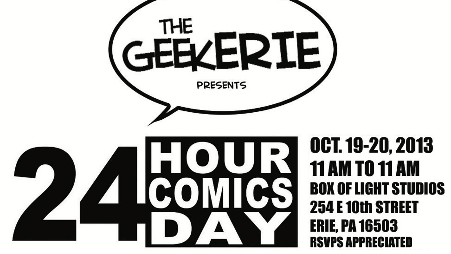 The GeekERIE presents 24 Hour Comics Day in Erie, PA 2013