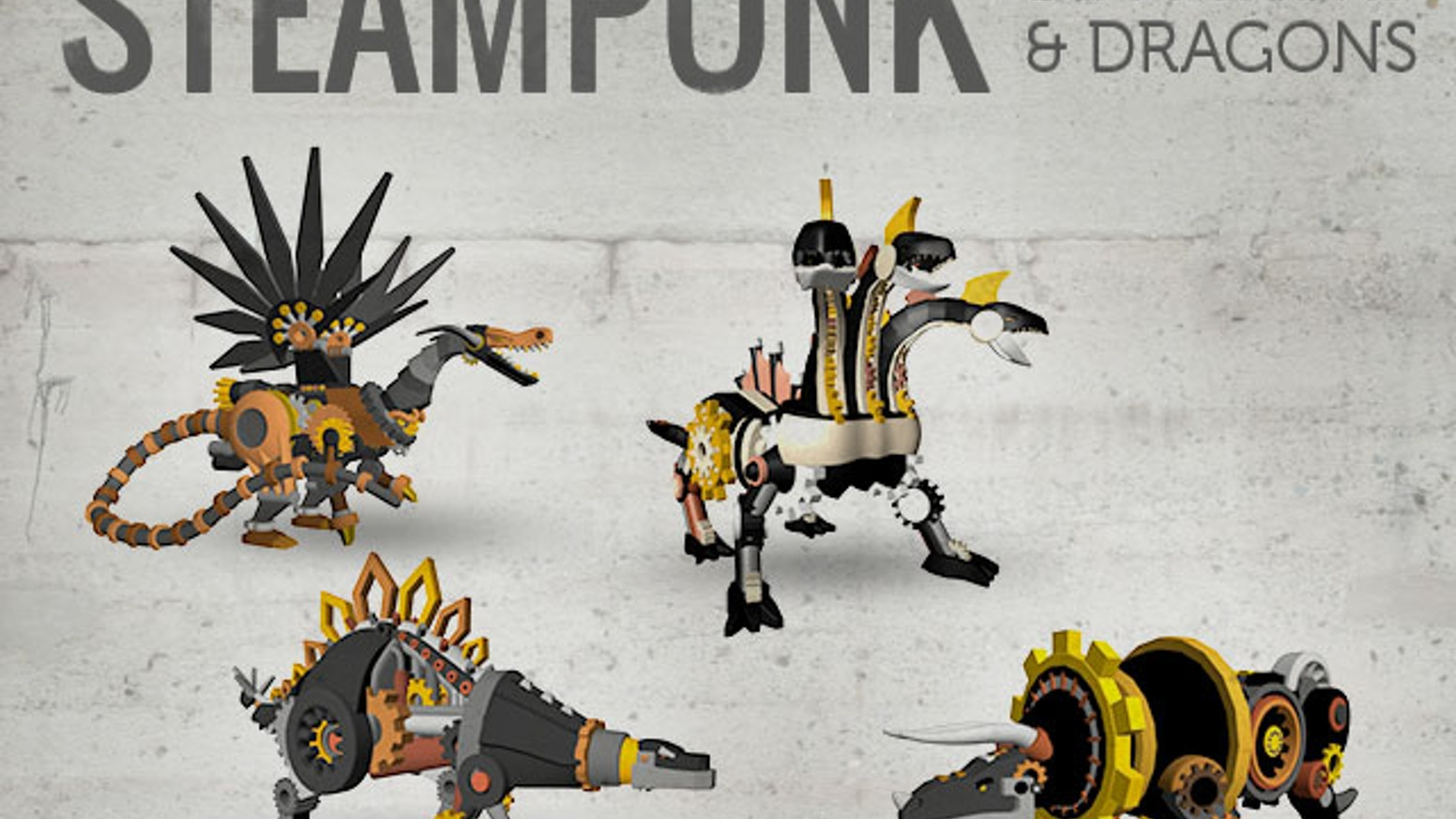 steampunk dinosaurs dragons 3d printed by whiteclouds kickstarter