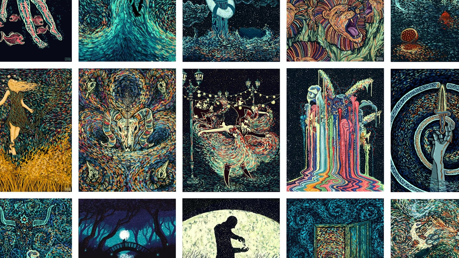 The Visions Project is a comprehensive detailed collection comprised of a  full 78 card tarot deck and a series of 23 prints.