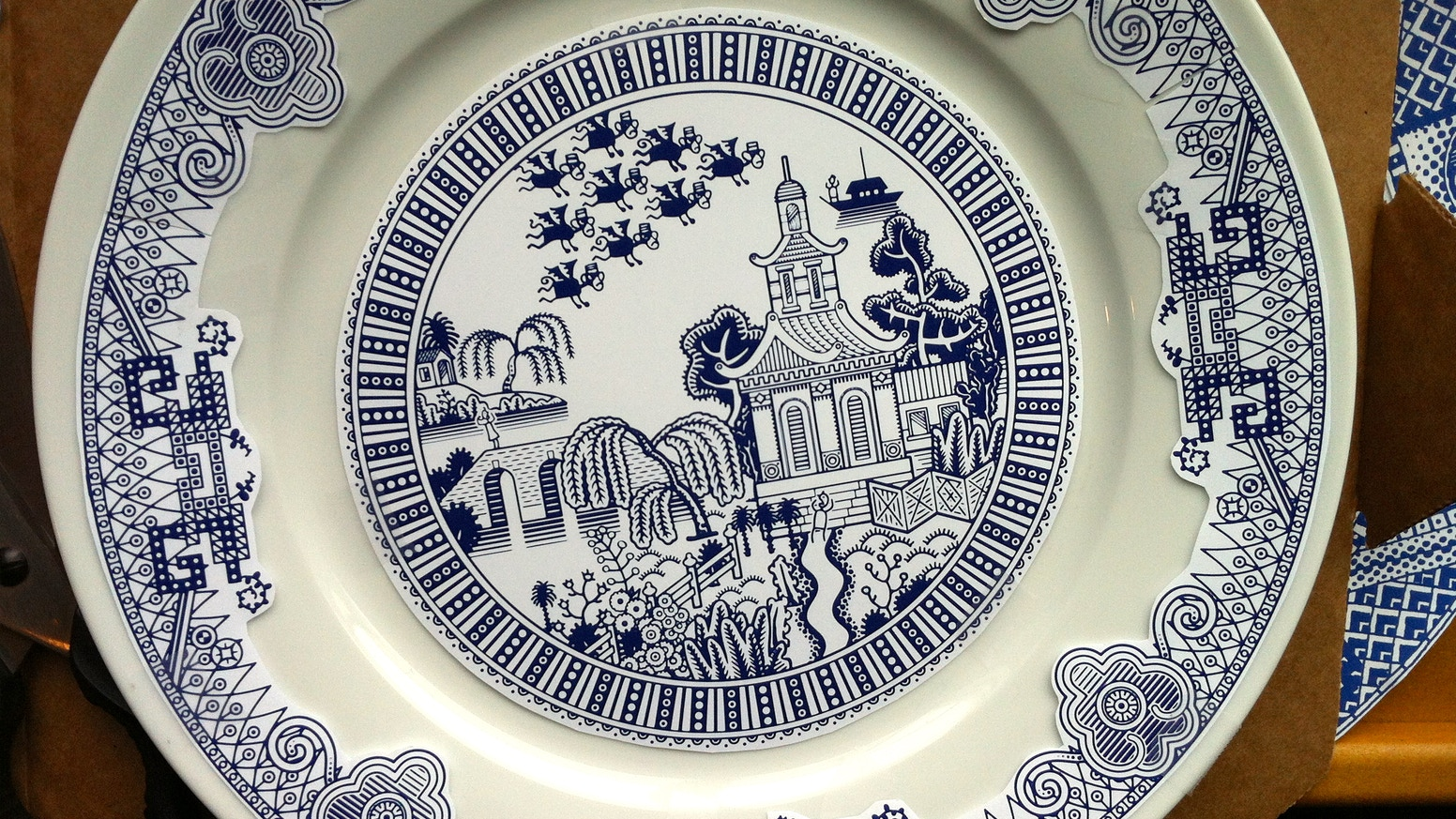 Traditional blue plate updated to suit modern appetite for calamity.