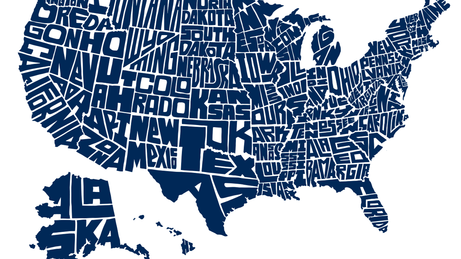 Stately Type - Hand-lettered US Map Prints & T-shirts by David Lesue on education maps of the united states, state of texas map of united states, county maps of the united states,