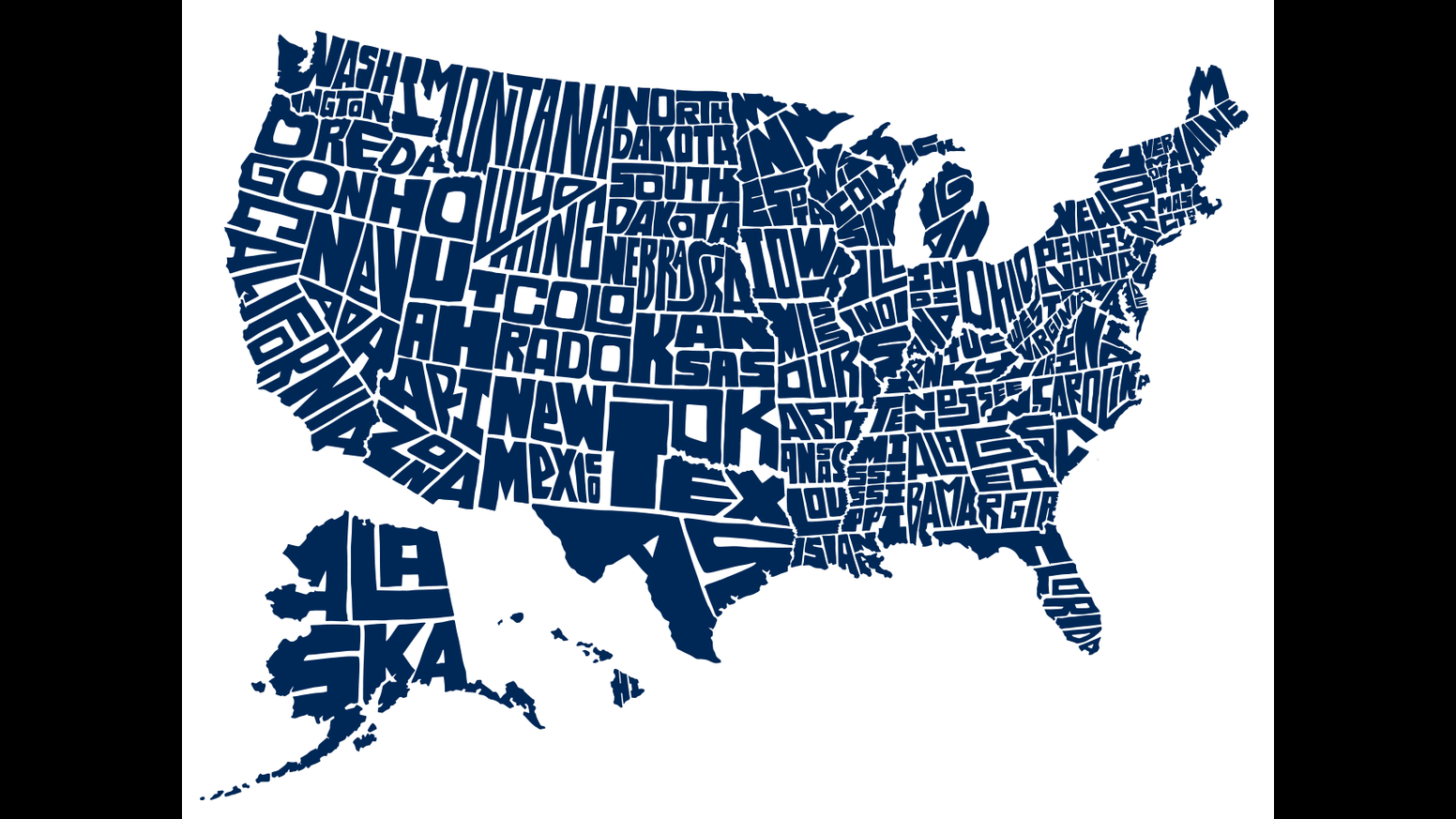 Stately Type Handlettered US Map Prints  Tshirts By David - Us map individual states