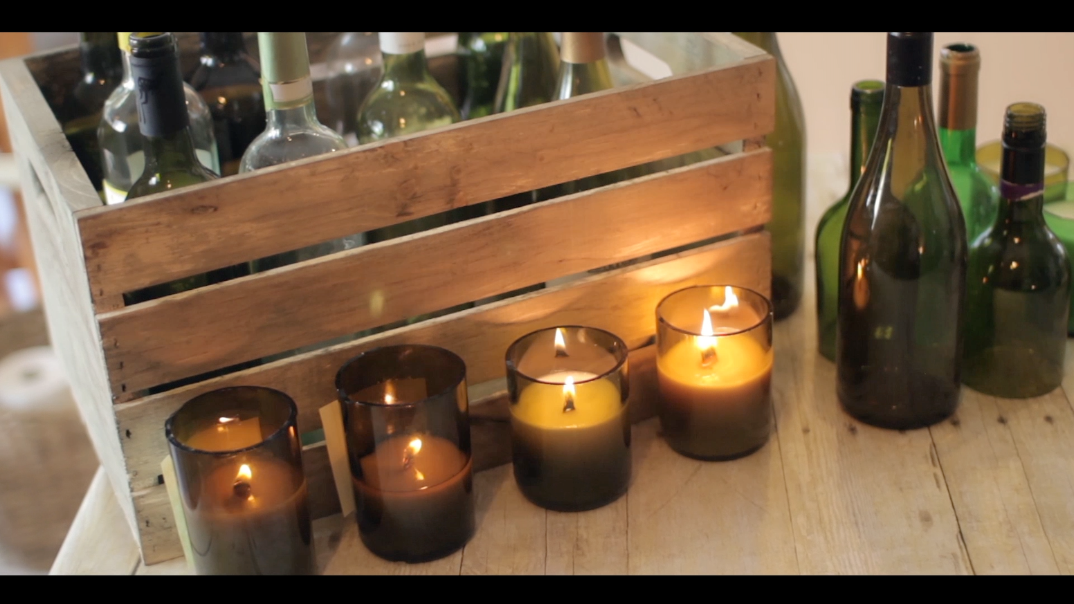 Handmade 100% soy wax candles using UPCYCLED Wine Bottles
