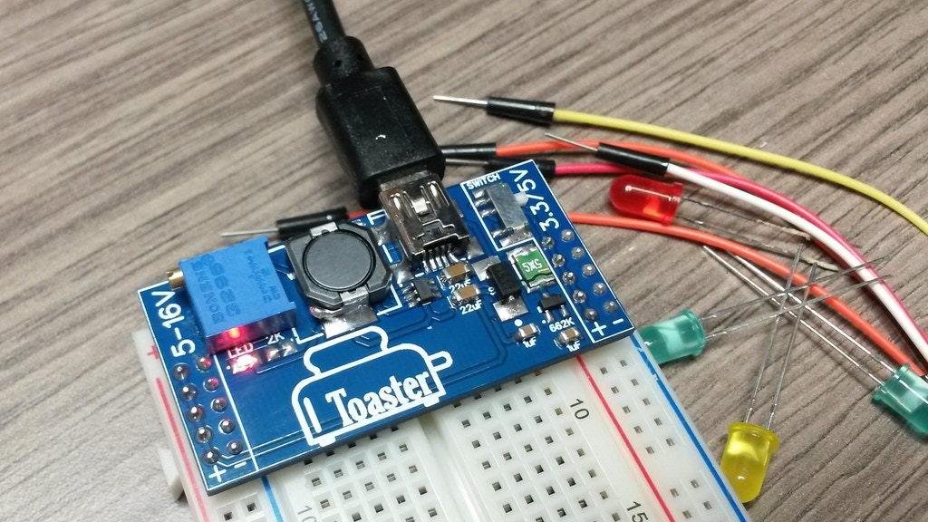 Toaster - Dual Output USB Step Up Breadboard Power Supply. project video thumbnail