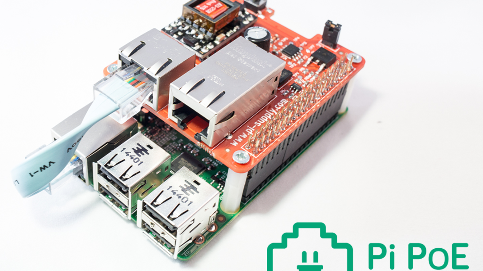 A power over Ethernet (PoE) add on board (HAT) for your Raspberry Pi with power management. Reduce the clutter of cables with Pi PoE!