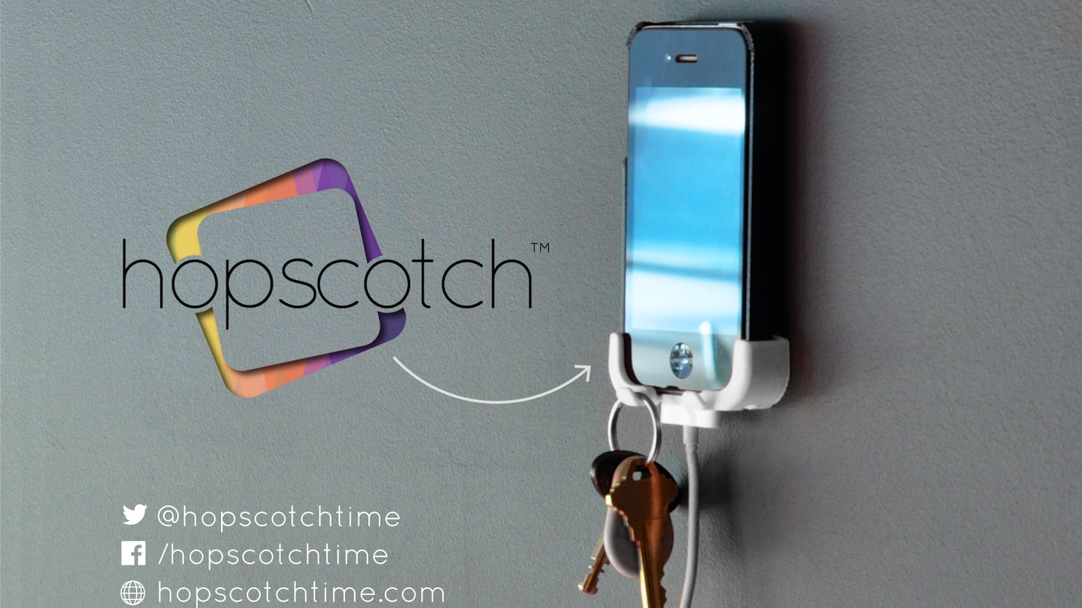 Hopscotch is a simple holder for cell phones and keys, designed to be out of the way yet always there when you need it.