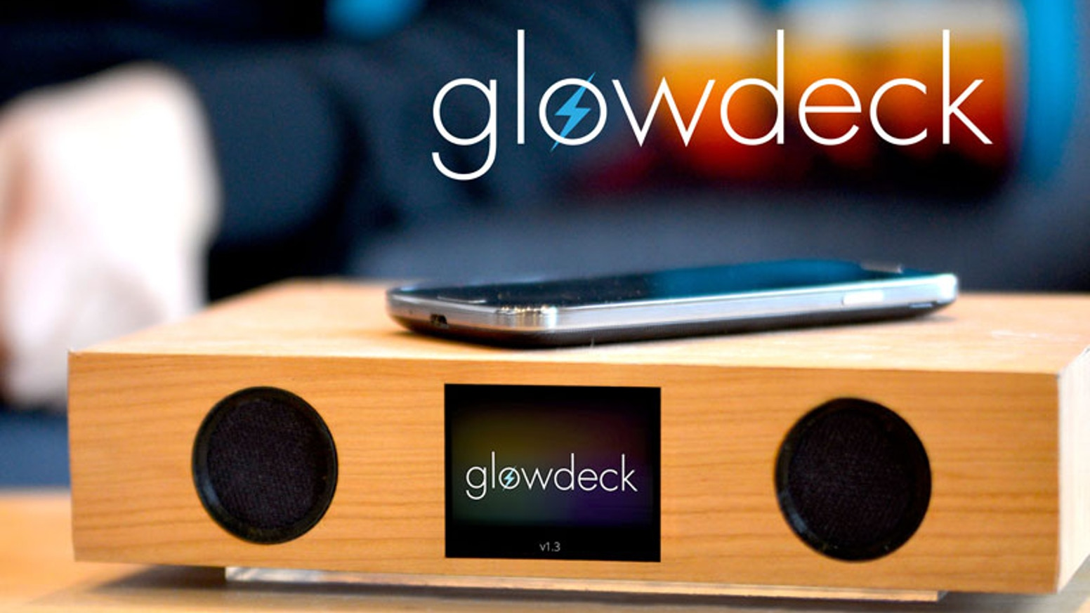 Glowdeck is a wireless charger, Bluetooth speaker, LED light system, and wifi-enabled notifications platform called Streams.