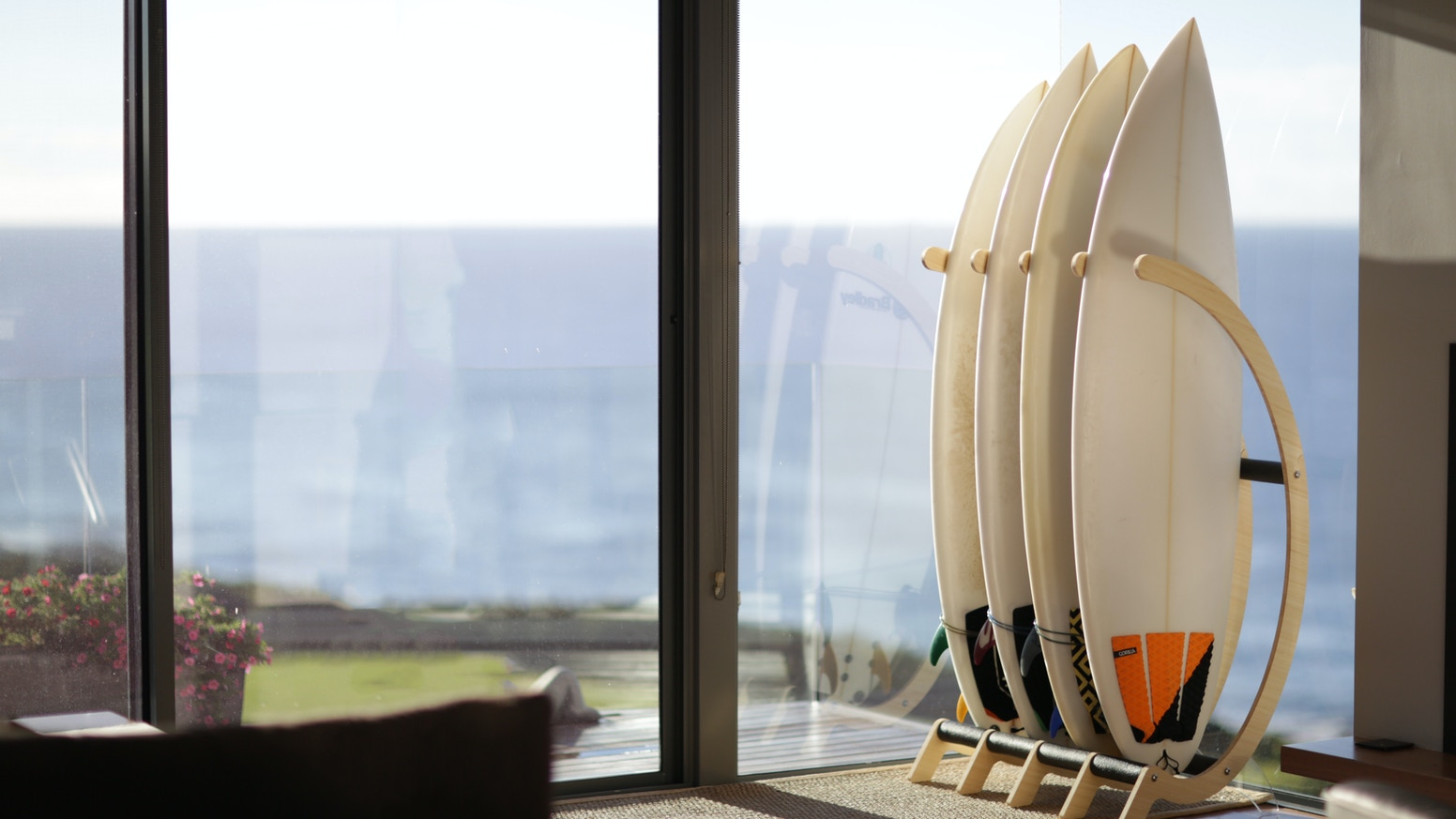 The Cactus rack is a freestanding display that can hold surf boards, kite boards, wake boards, snow boards and long boards.