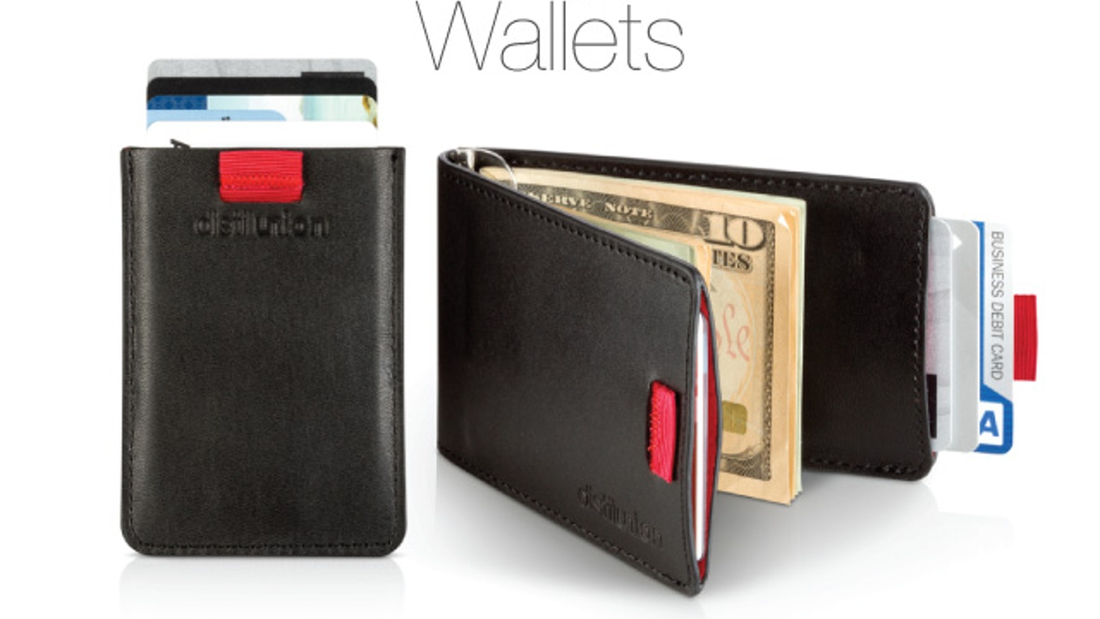 Experience a wallet distilled to its essentials: Wally Bifold and Wally Sleeve, minimal slim wallets with simplified construction and our sneaky smart Wally Pull-Tab™
