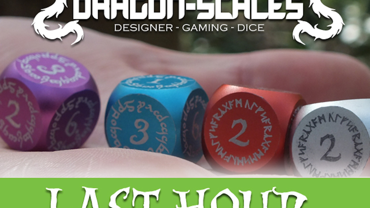 Fantasy themed dice for miniature and role-playing games. Precision cut by CNC machines to give you the best metal dice possible.