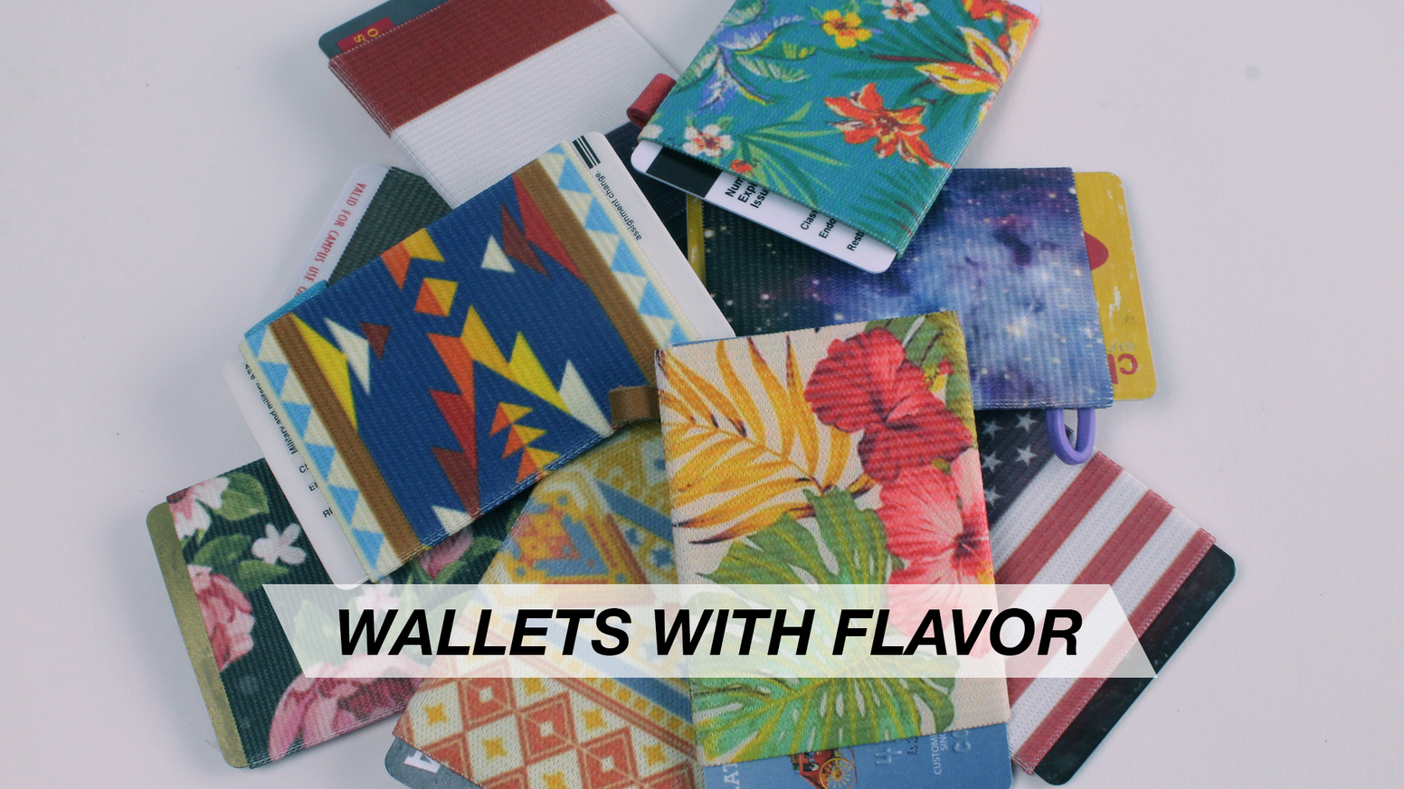 Slim, elastic card holders with an UNLIMITED amount of design possibilities. You can even customize your own!