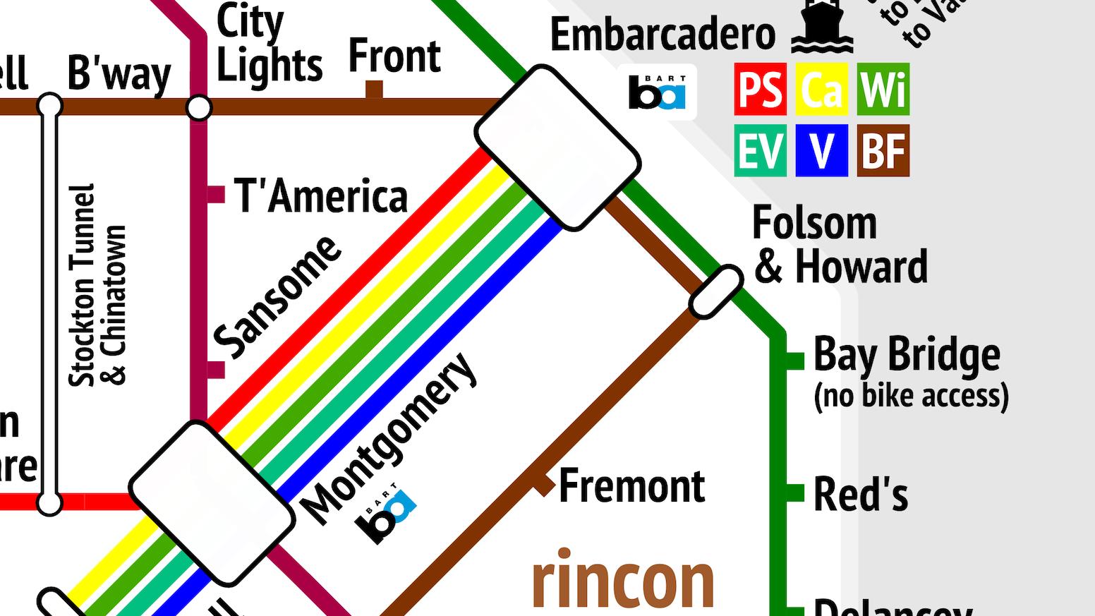 The San Francisco Bicycle System by Mat Kladney — Kickstarter San Francisco Subway Map on l.a. subway map, berlin subway map, new york new york subway map, mobile subway map, hannover subway map, hunters point subway map, dallas subway map, tennessee subway map, nashville subway map, hong kong mtr subway map, lima subway map, toronto subway map, tokyo subway map, pudong subway map, medellin subway map, florida subway map, seattle subway map, dresden subway map, far rockaway subway map, tel aviv subway map,