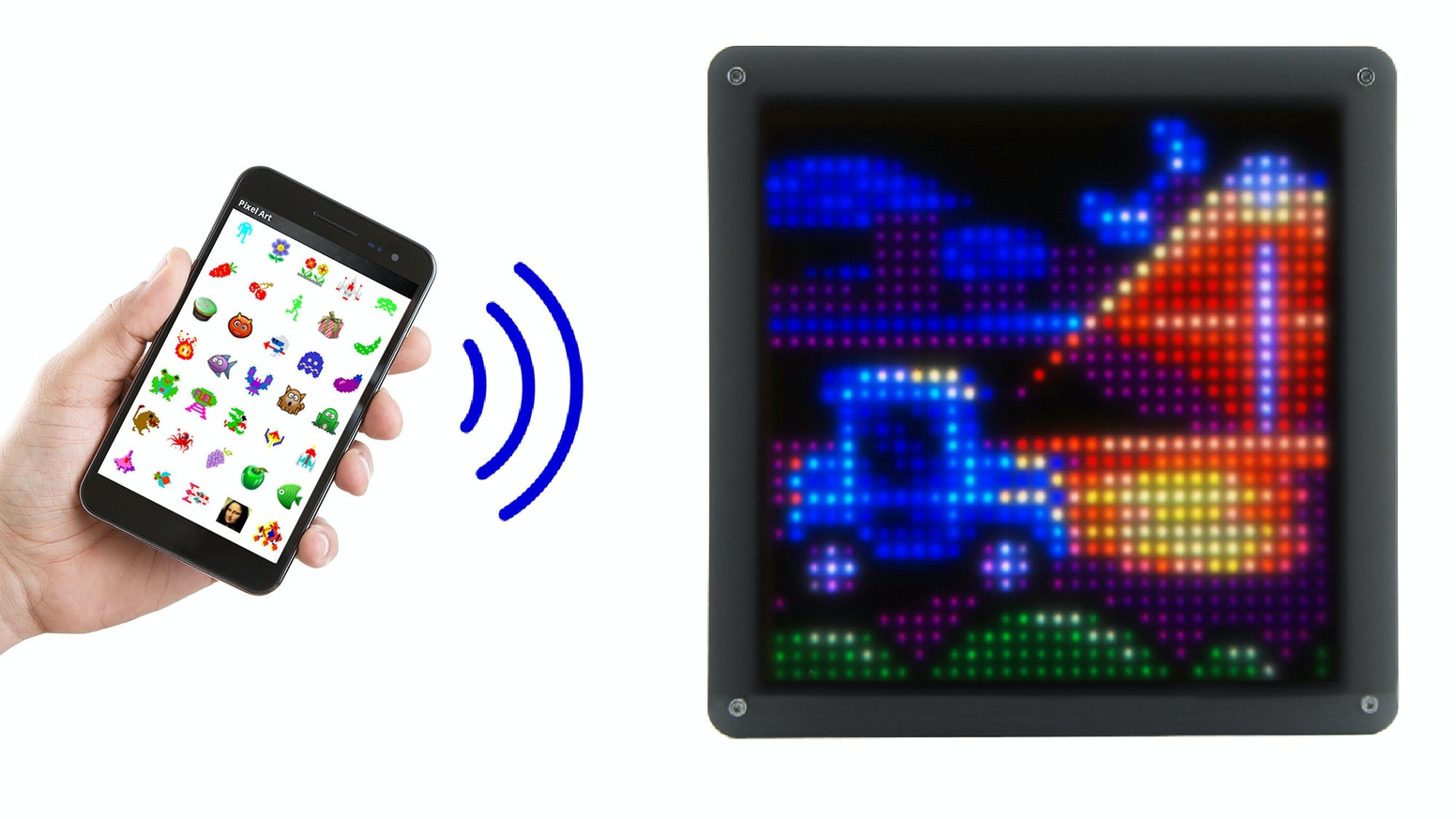 Retro pixel art display with 1024 LED pixels controlled from your smartphone or PC