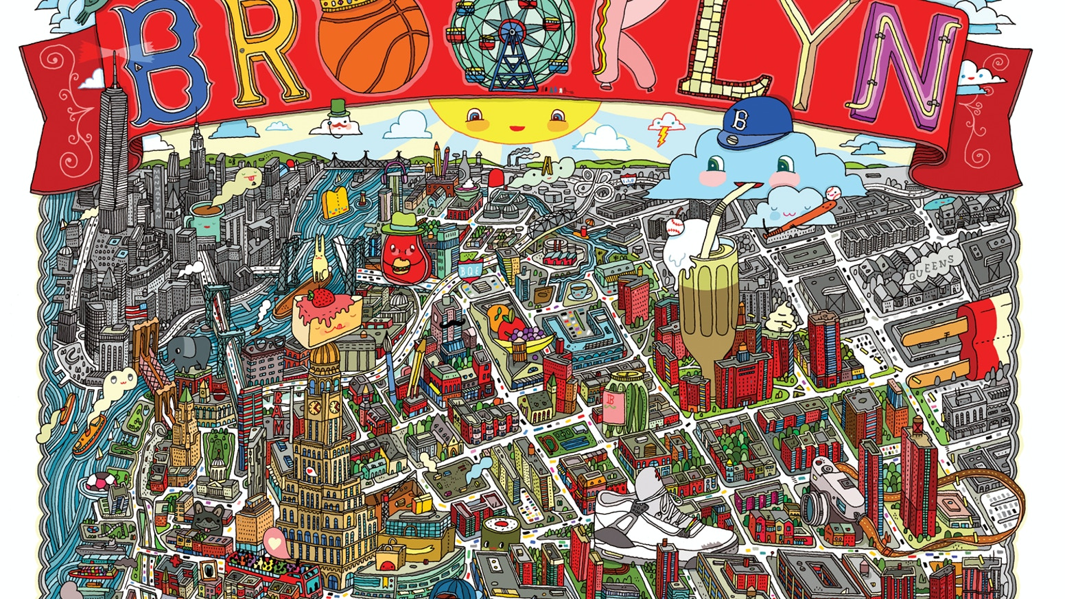 BROOKLYN Illustrated MAP X By Aaron Meshon By Aaron - Aarons store map us