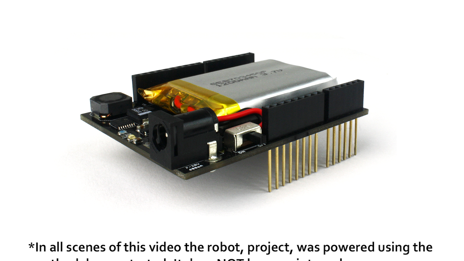 The energyShield is a rechargeable battery for your project, equipped with I2C fuel gauge and solar charging.