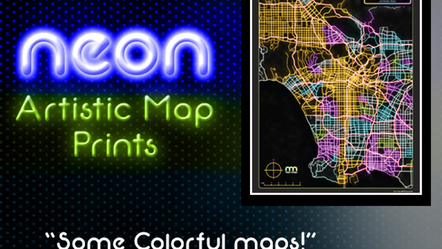 Inspired by maps and Neon lights. These artistic city map prints of different cities will add color to any wall. Suitable for framing. Neonmaps.com