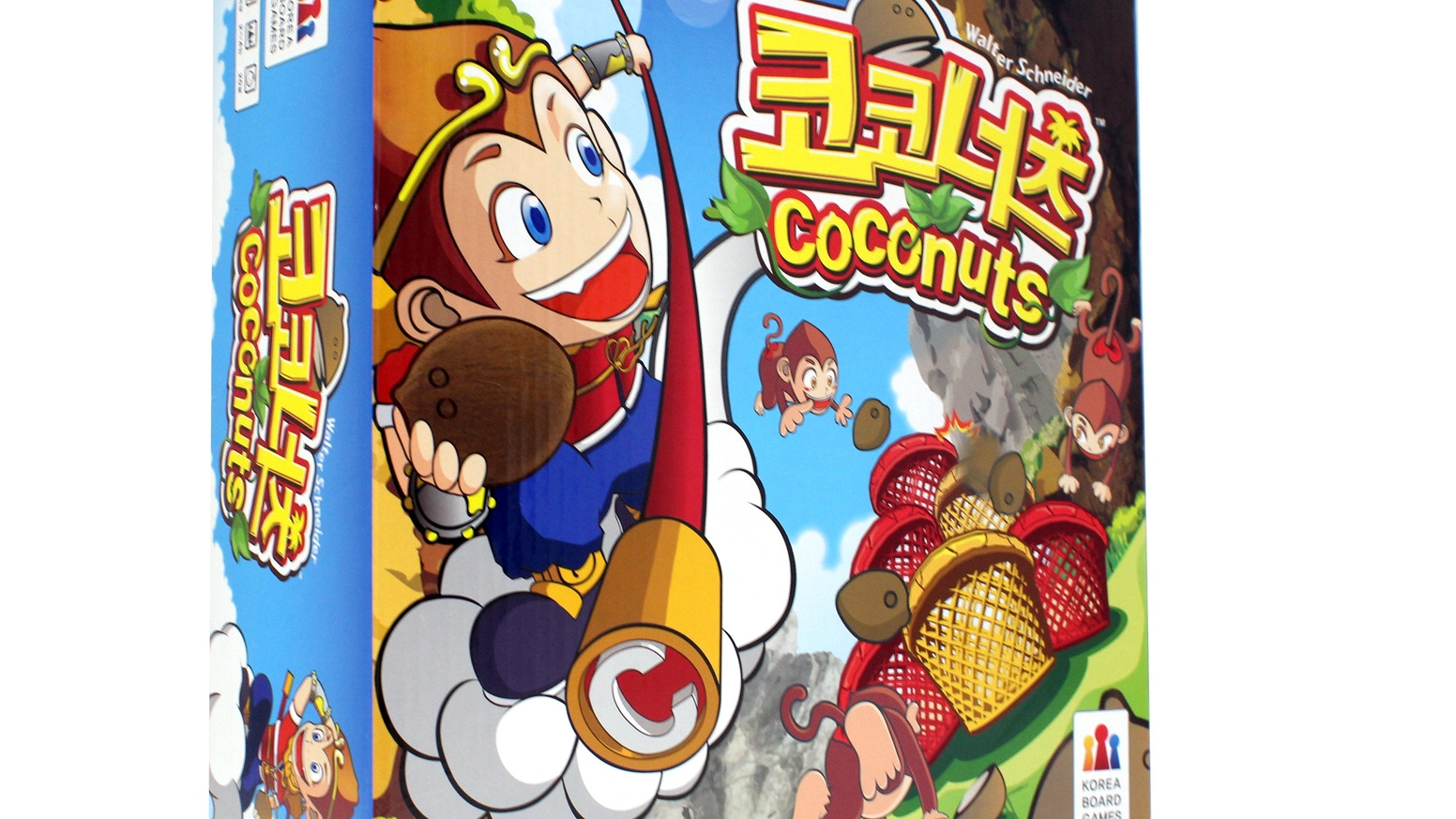 Coconuts is a dexterity game where each player assumes the role of a monkey tossing coconuts to be the top ape! Fun for everyone!
