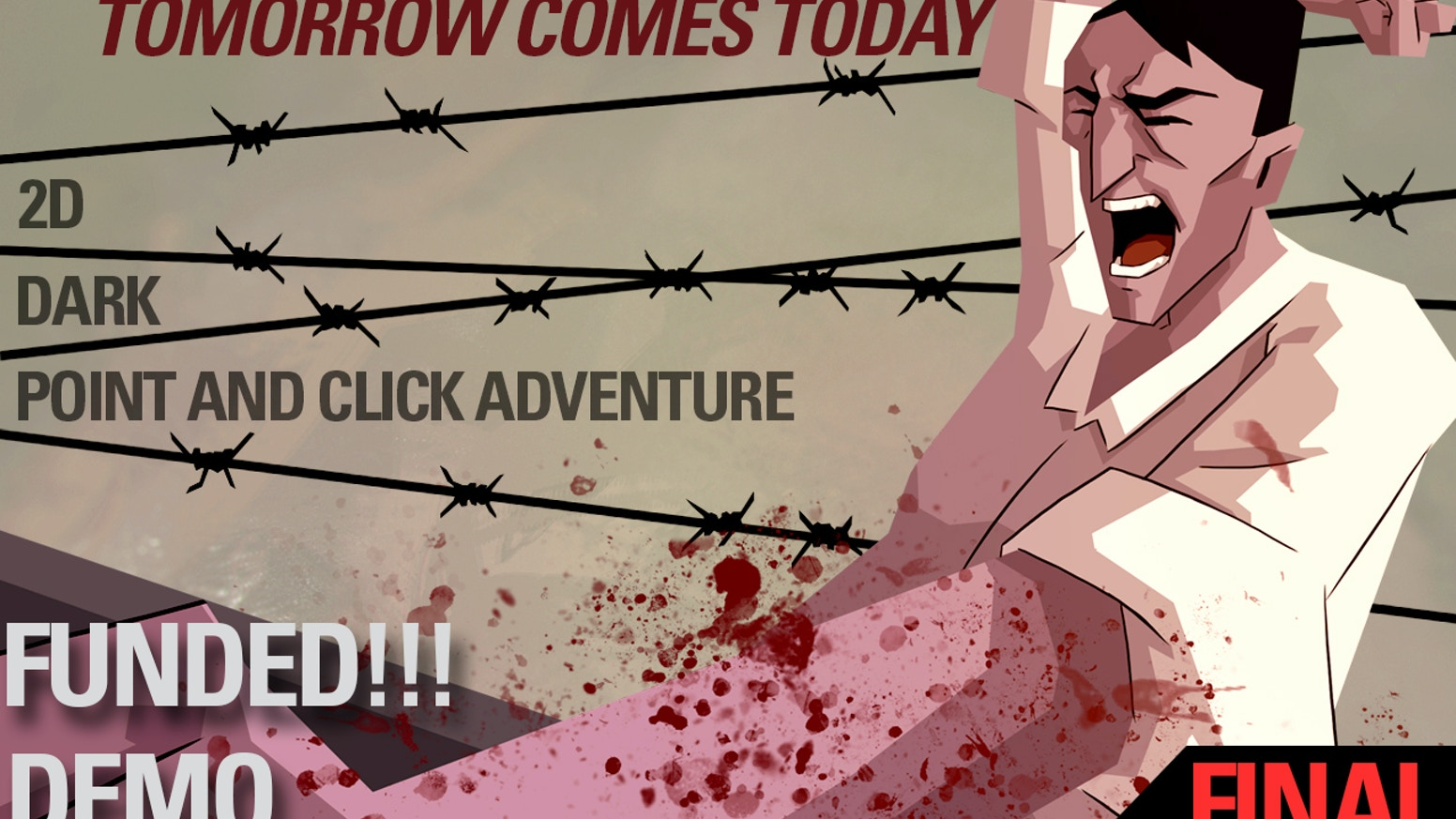 Old-school 2D graphic adventure game featuring space-time distortions, a dystopian atmosphere... and a dark, bloodstained plot.