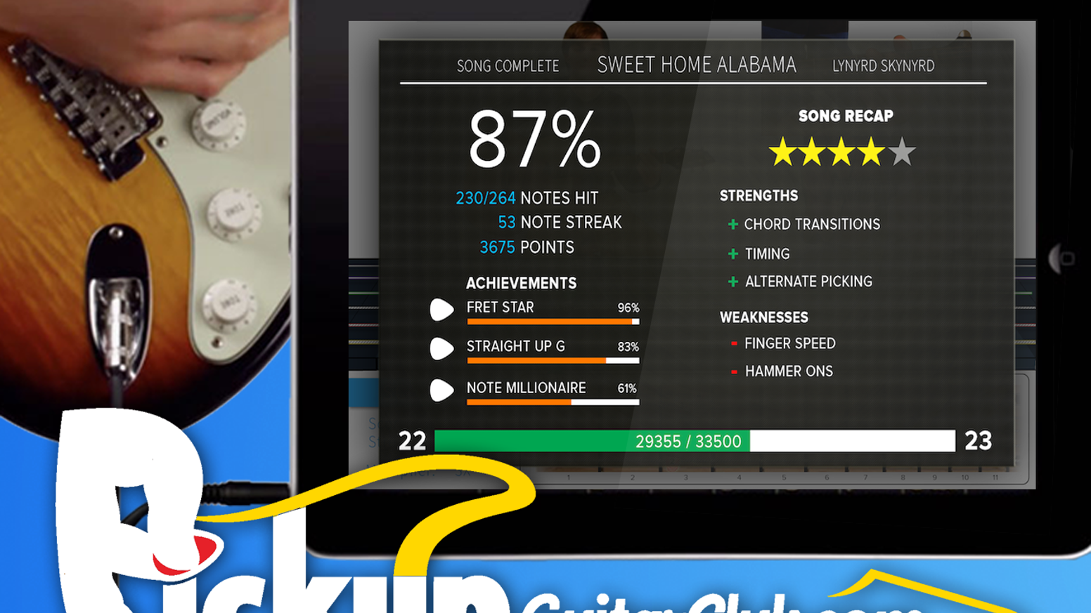 Learn faster and more enjoyably! Play songs you know, guided by note-recognition software. Guitar Hero for REAL guitar!