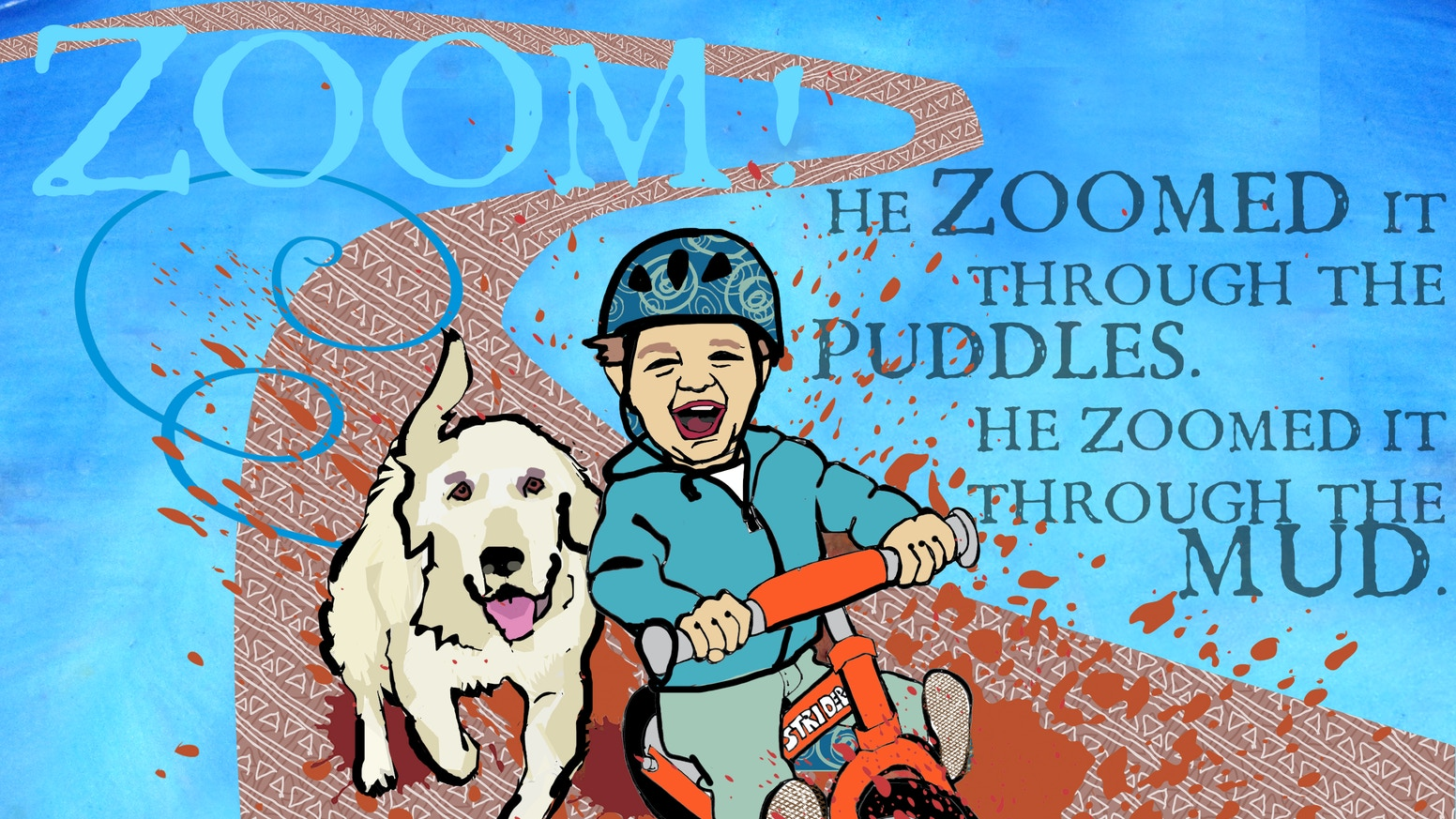 A little boy rides his balance bike to discover the desert, mountains, mud puddles, and more. The book is out as a paperback!