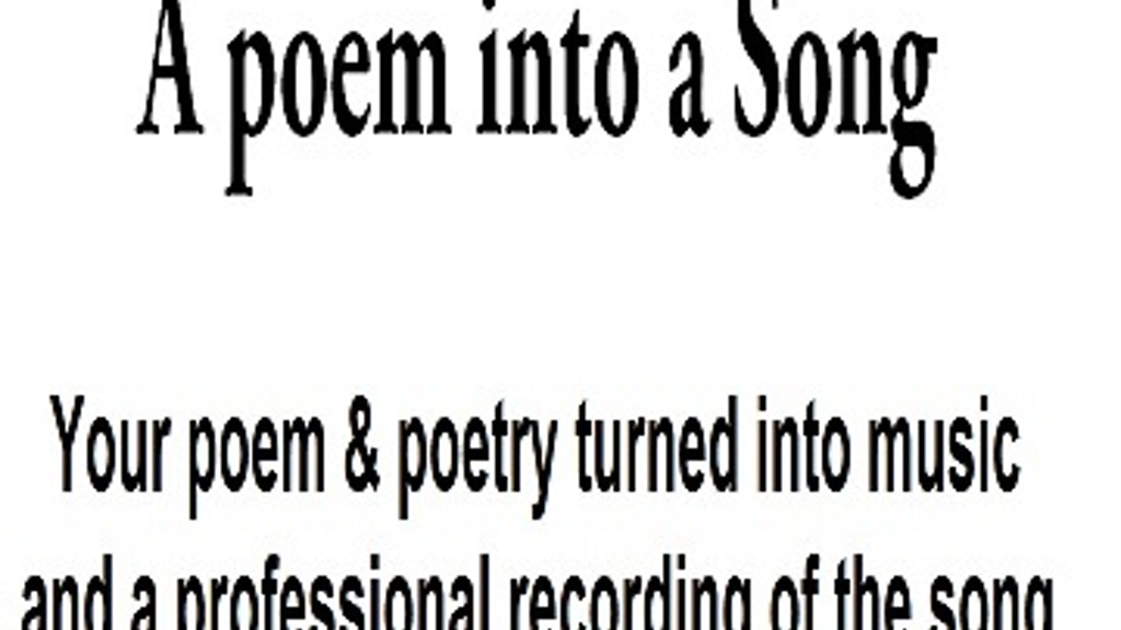 Your Poem Words Now A Professional Song And Recording By