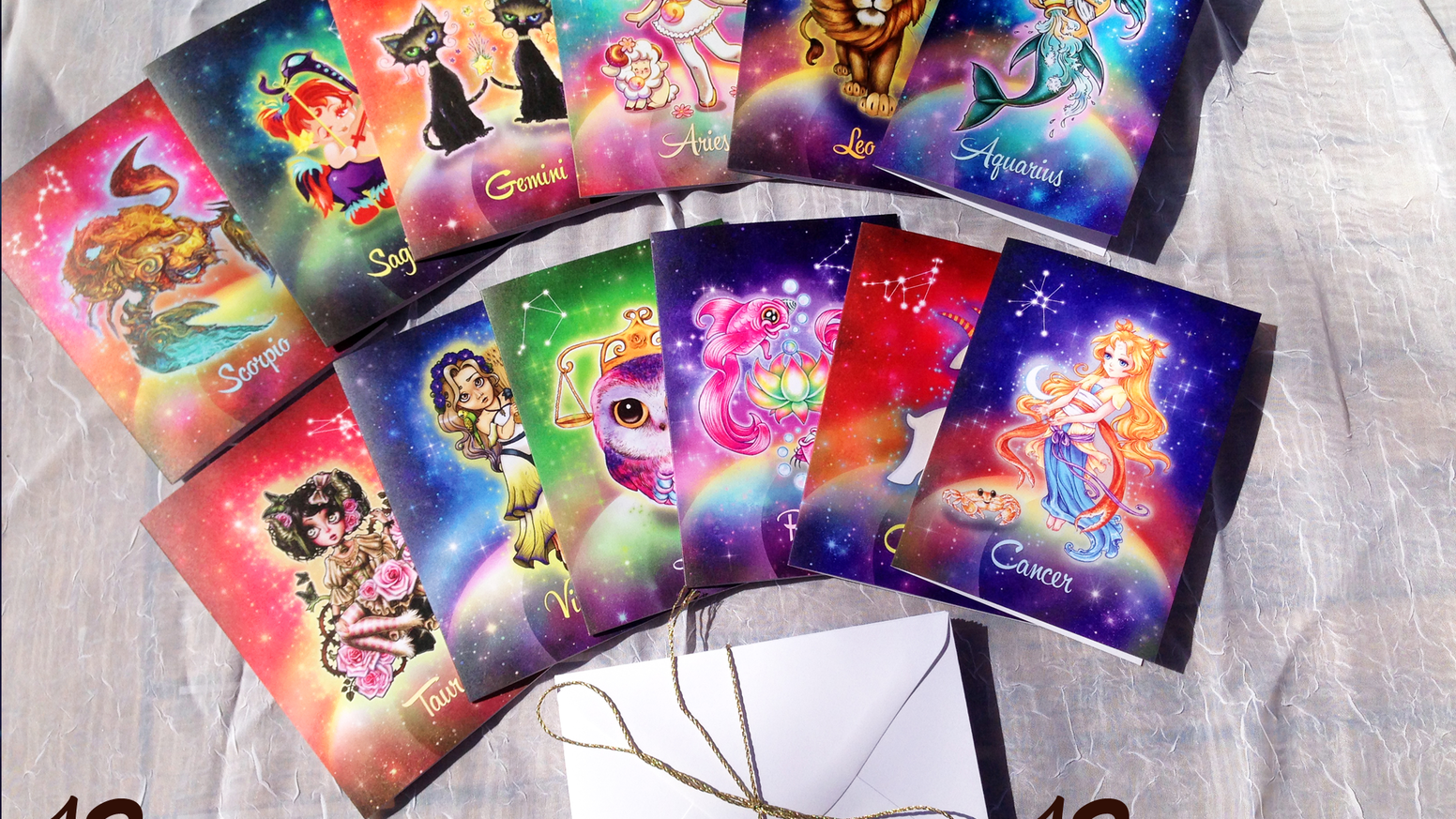 Zodiac greeting card set by 12 different artists by kayti welsh 12 talented artists gathered to create an adorable and sparkly set of zodiac greeting cards m4hsunfo