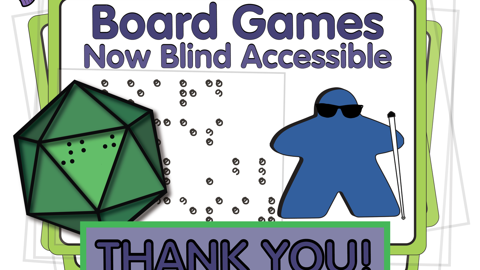 Card sleeves and accessories with Braille text enable blind gamers to enjoy the same games as their sighted friends. Available Now at www.64ouncegames.com