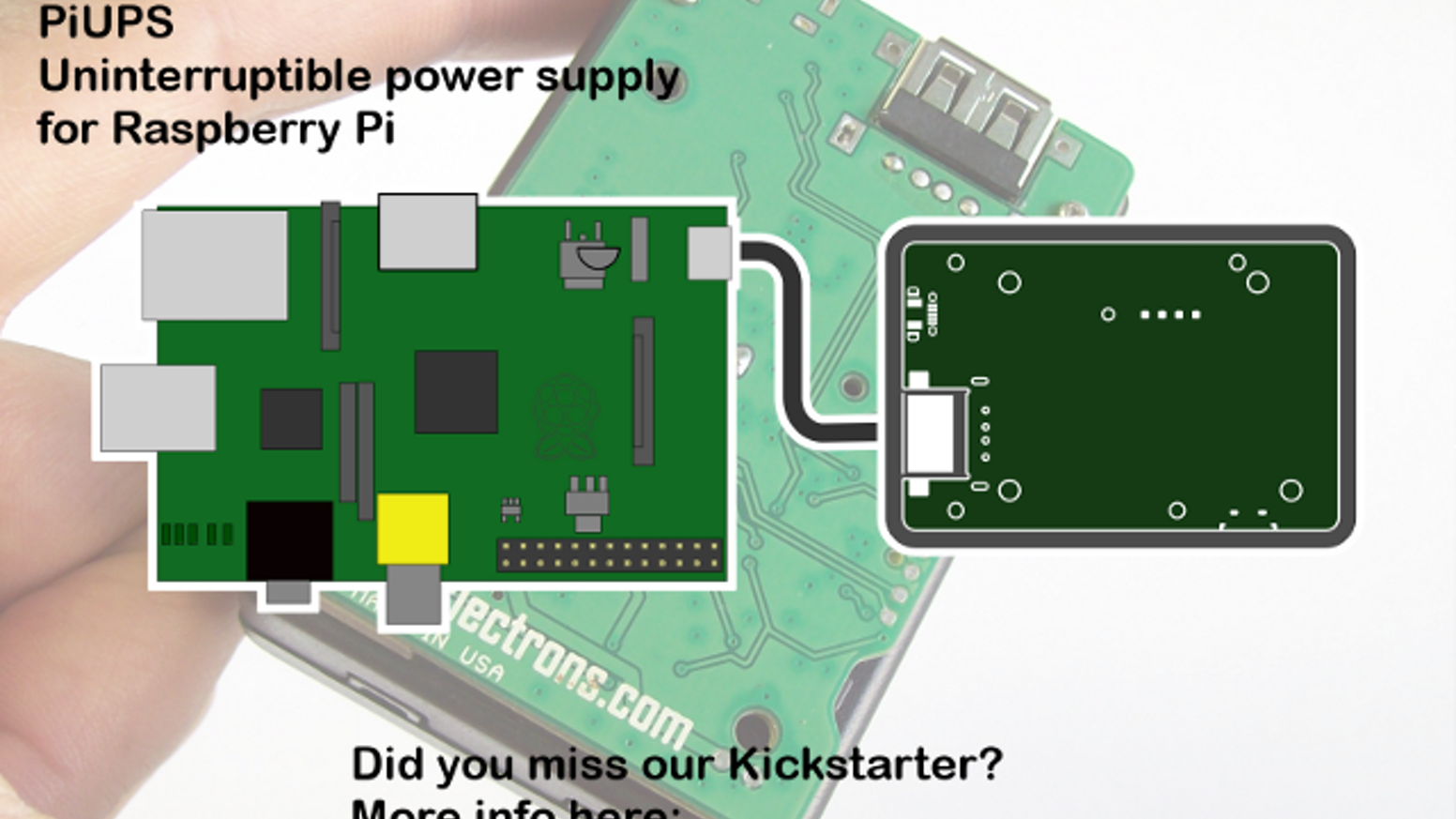 PiUPS is Uninterruptible Power Supply & Portable Power for Raspberry Pi or Arduino. PiUPS runs on 3 AA rechargeable batteries.