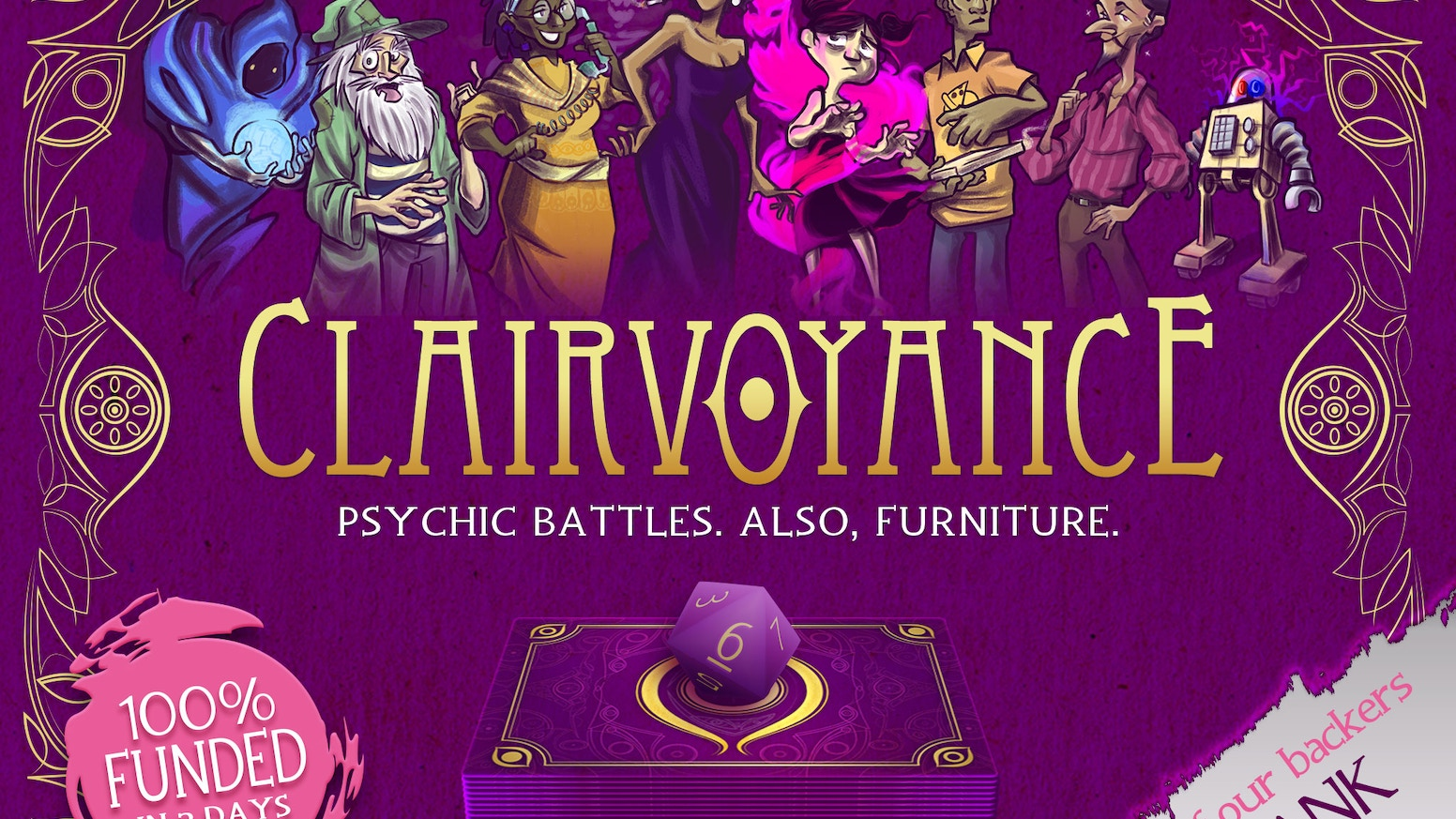 The last psychic standing wins in Clairvoyance, a 2-5 player card game about hurling antiques at your friends!