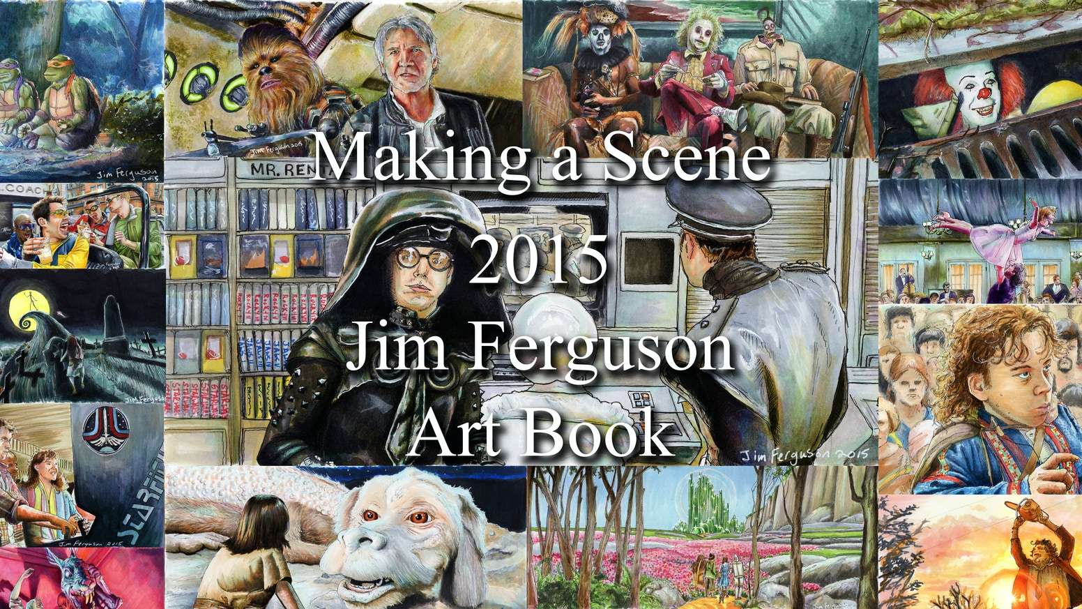 Movie Scene Art Book. 60 page Hardcover book with 50+ illustrations of classic and cult classic movies and TV shows