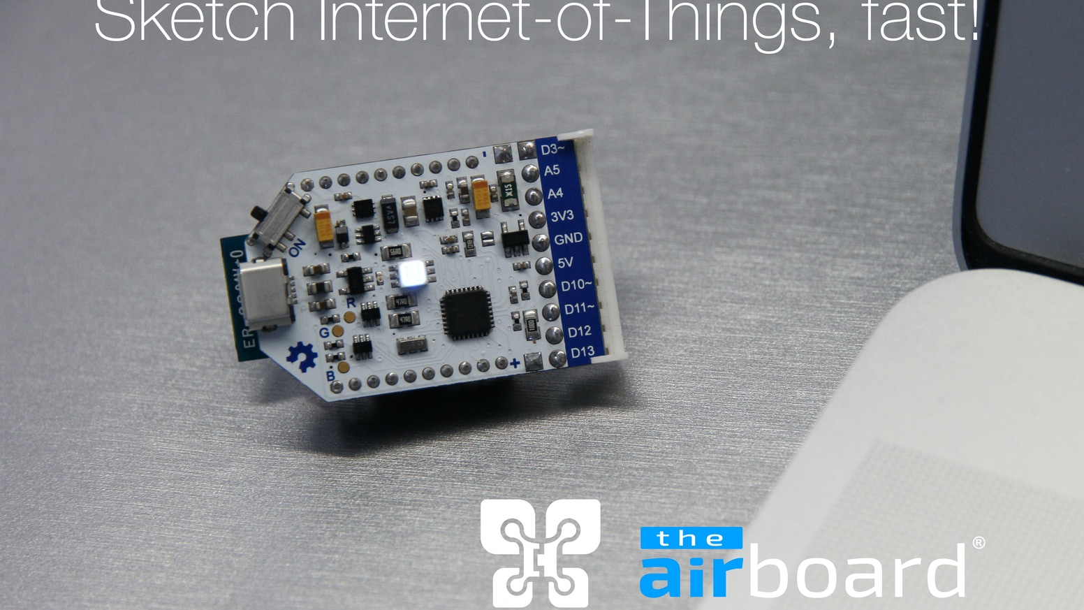 The AirBoard is a thumb-size, Arduino compatible, wireless, ubiquitous computer designed to sketch Internet-of-Things, fast!