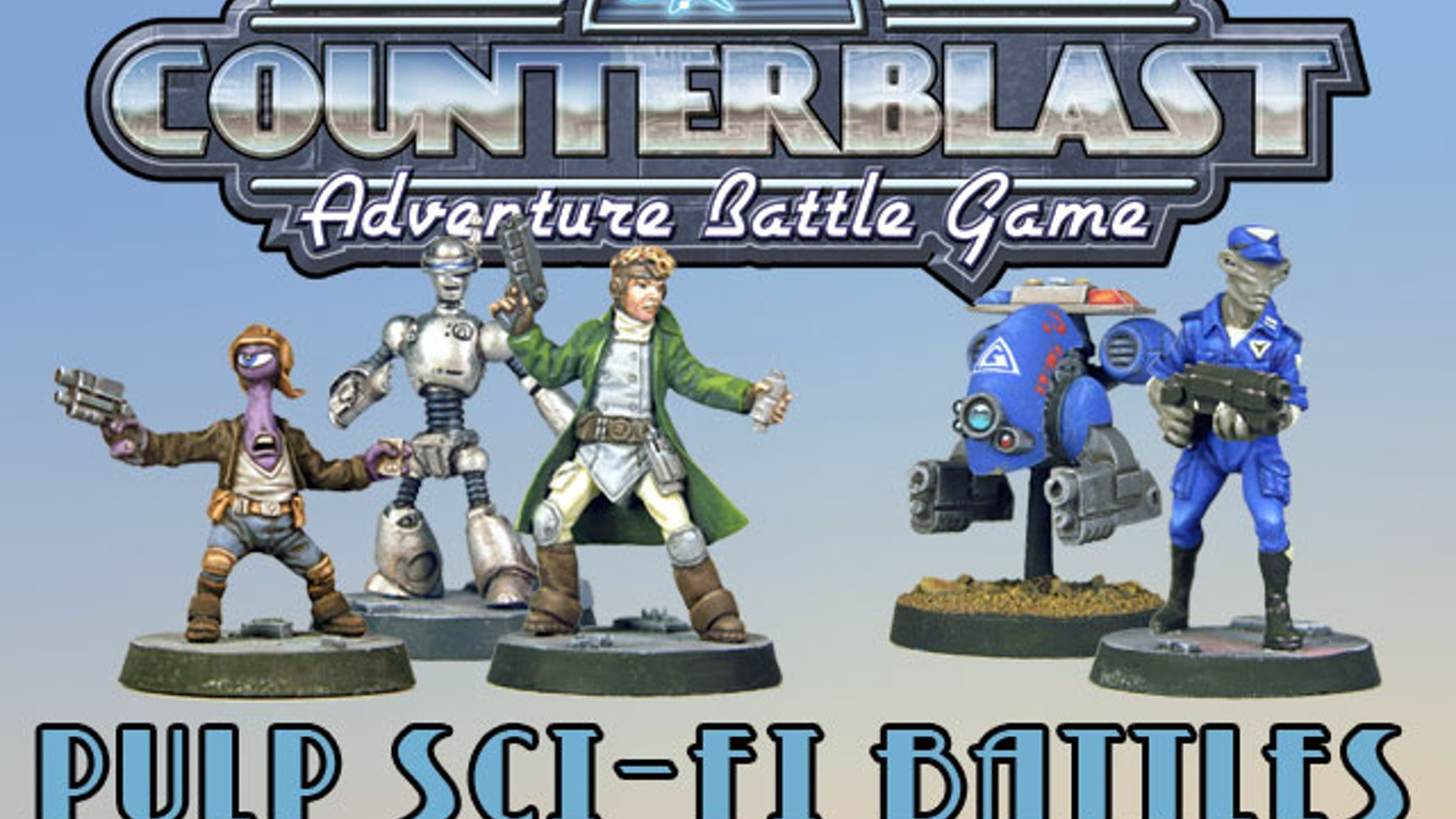 We are pleased to announce COUNTERBLAST, a pulp-inspired science fiction tabletop skirmish battle game for miniatures.