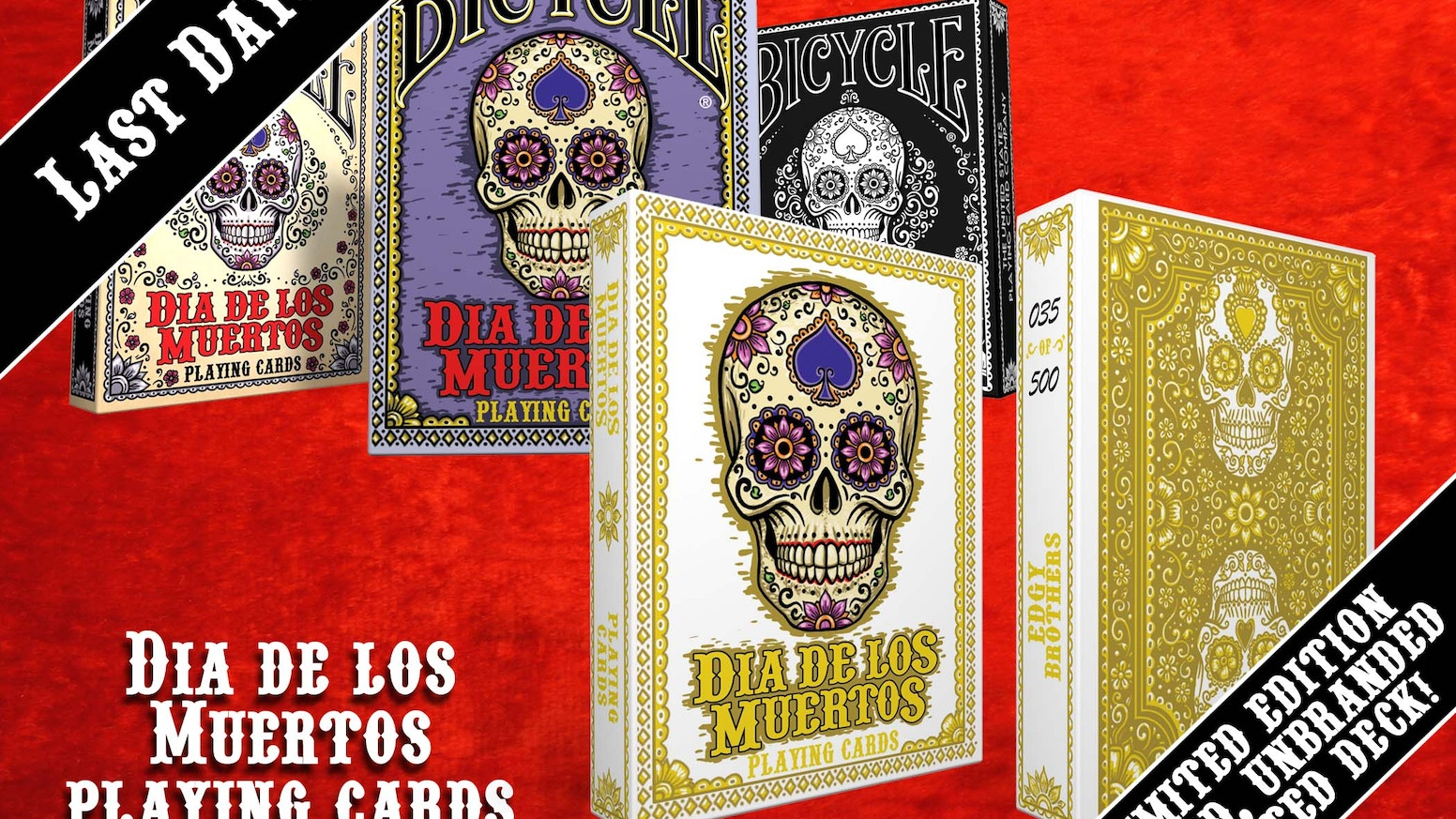 A Bicycle Playing Card Deck inspired by the art and traditions of Dia de Los Muertos.
