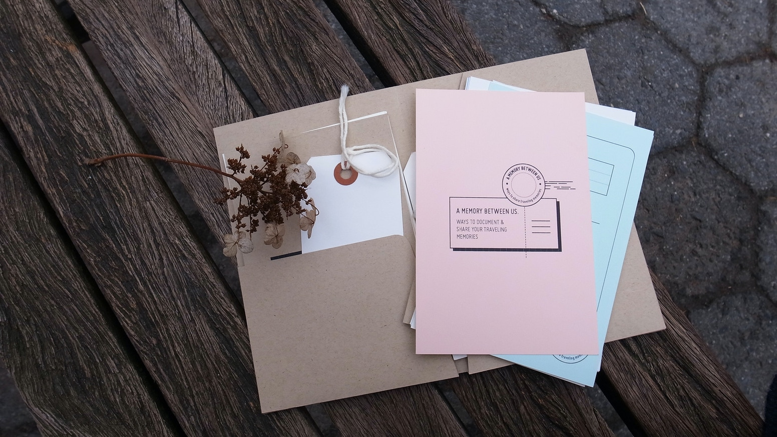 This postcard kit allows traveling companions to document their journey together and to share it with their loved ones.