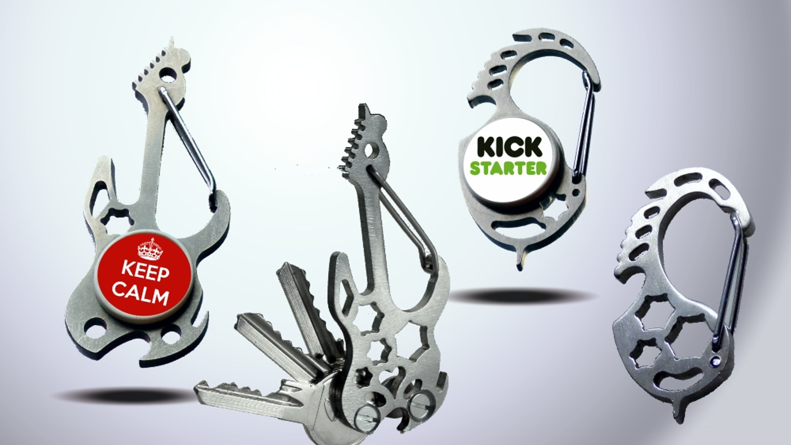 Quick & simple everyday carry. Carabiner, key organizer, bottle opener, box opener, wrench tool, NFC technology, logo and more.