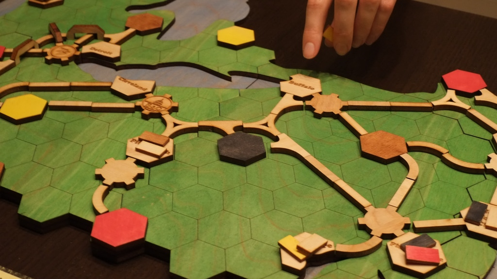 Railroads, a boutique wooden board game project video thumbnail