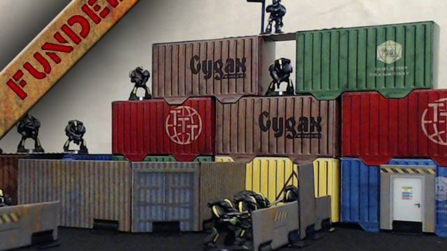 High Quality, fold flat, easy store shipping containers for modern, post apocalyptic and Science Fiction tabletop gaming.