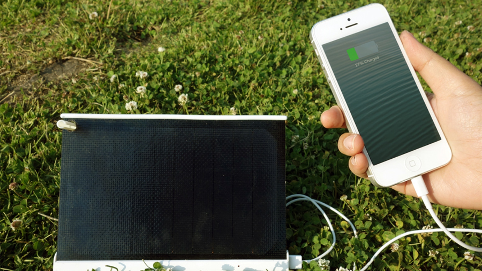 Charge your iPhone battery 100% in 2 hours of sun light. It also charges gopro, external battery, flash light and many other devices.