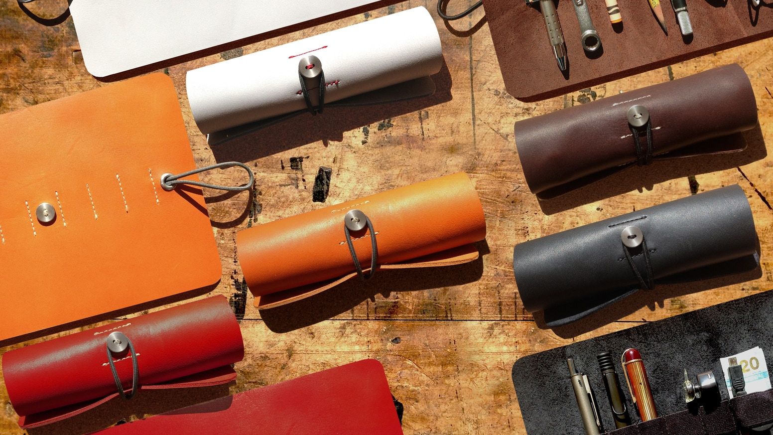 A versatile, tailored tool roll designed for everyone; hand-crafted from full-grain baseball glove leather.