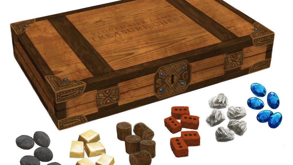 Treasure Chest Realistic Resource Tokens For Board Games By Jamey Adorable Game With Stones And Wooden Board