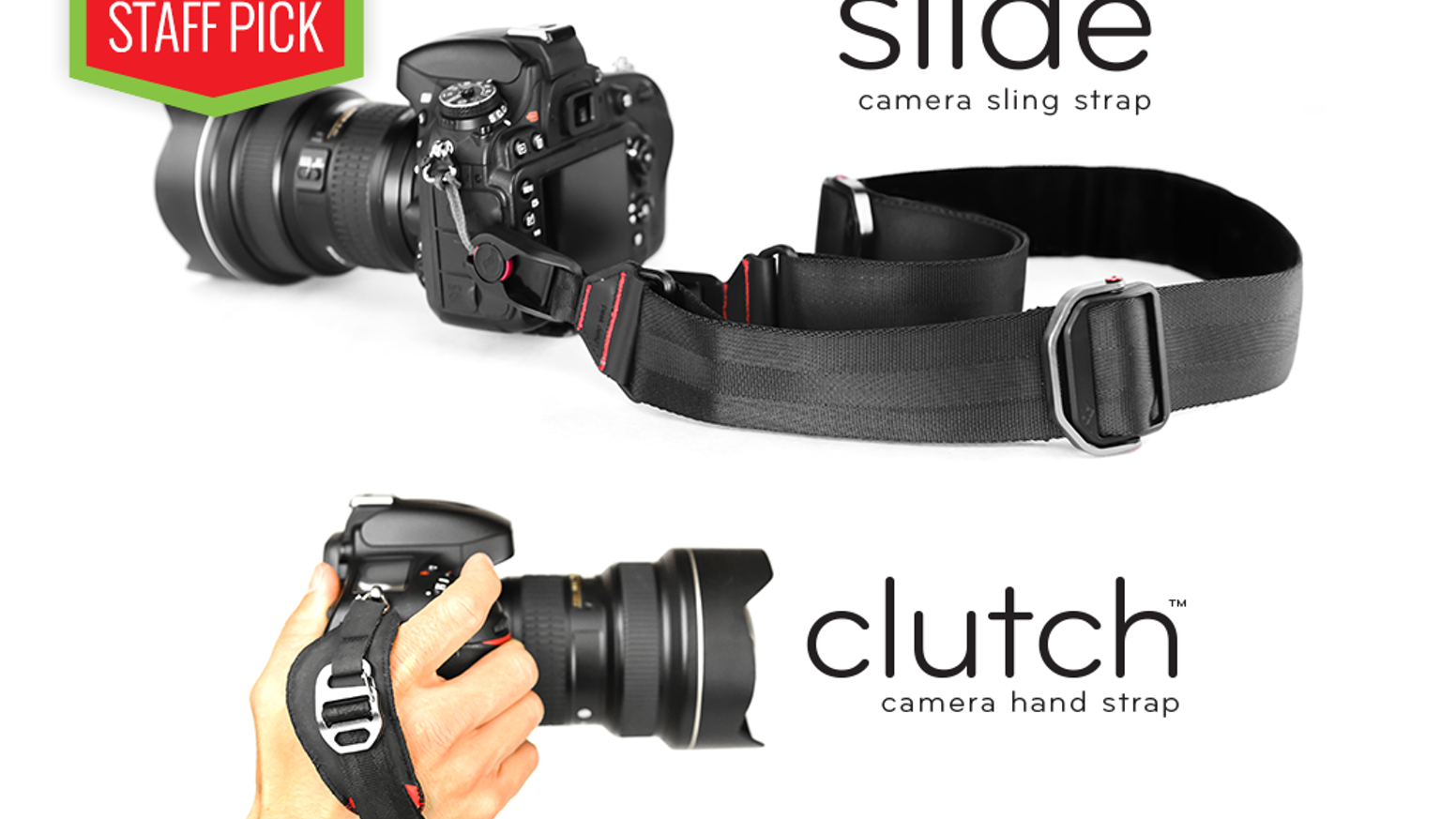 A camera sling strap and hand strap that are quick-connecting, quick-adjusting, comfortable, versatile and classically beautiful.