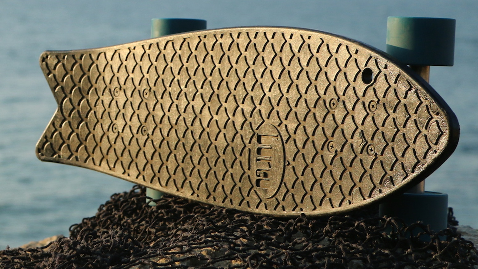 The Minnow: The first skateboard deck made out of recycled fishnets collected along the coast of Chile. Make waves!