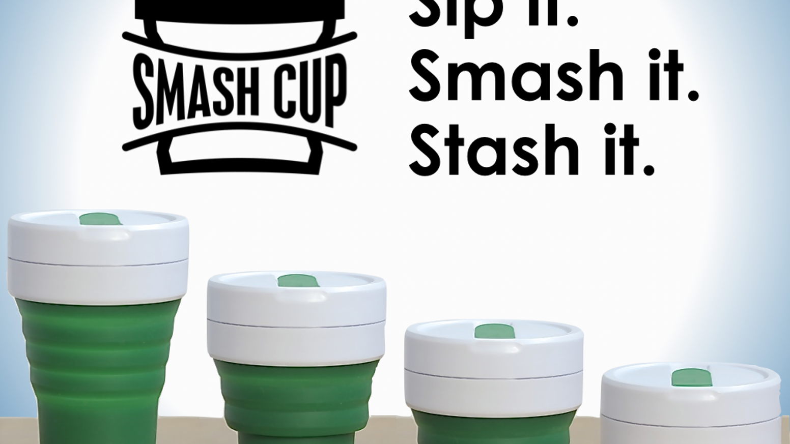 The Stojo Pocket Cup (f.k.a. Smash Cup) is leak-proof, collapsible and eco-friendly.  For any coffee drinker who carries just a briefcase, handbag or less when they're on the go!